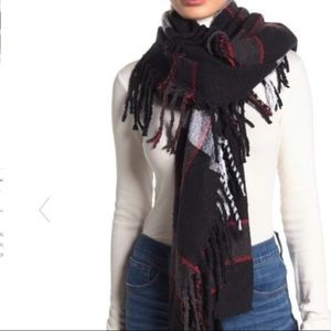 Free people Plaid print scarf black white red wrap